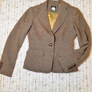 J. Crew Brown Gold Wool Tweed Riding Blazer 0 EUC